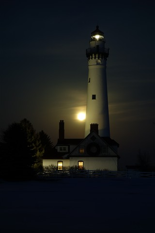 Wind Point, WI lighthouse - full moon long exposure