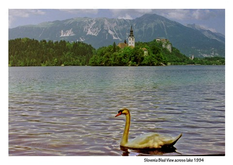 Slovenia Bled View across lake 1994 Border