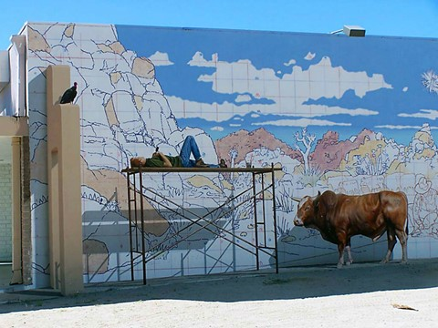 Mural man and cow
