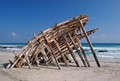 old ship wreck on the beach of Masirah island in Oman