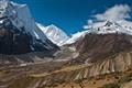 On High Route (above 4,000 m) to Larkya Pass, Around Manaslu Trek in Nepal Himalaya.