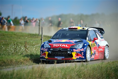 Sébastien Loeb drives his Citroën DS3 WRC rally car through the ADAC Rally Deutschland 2011 shakedown stage.