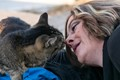 """My cat """"UP"""" kissing my wife."""